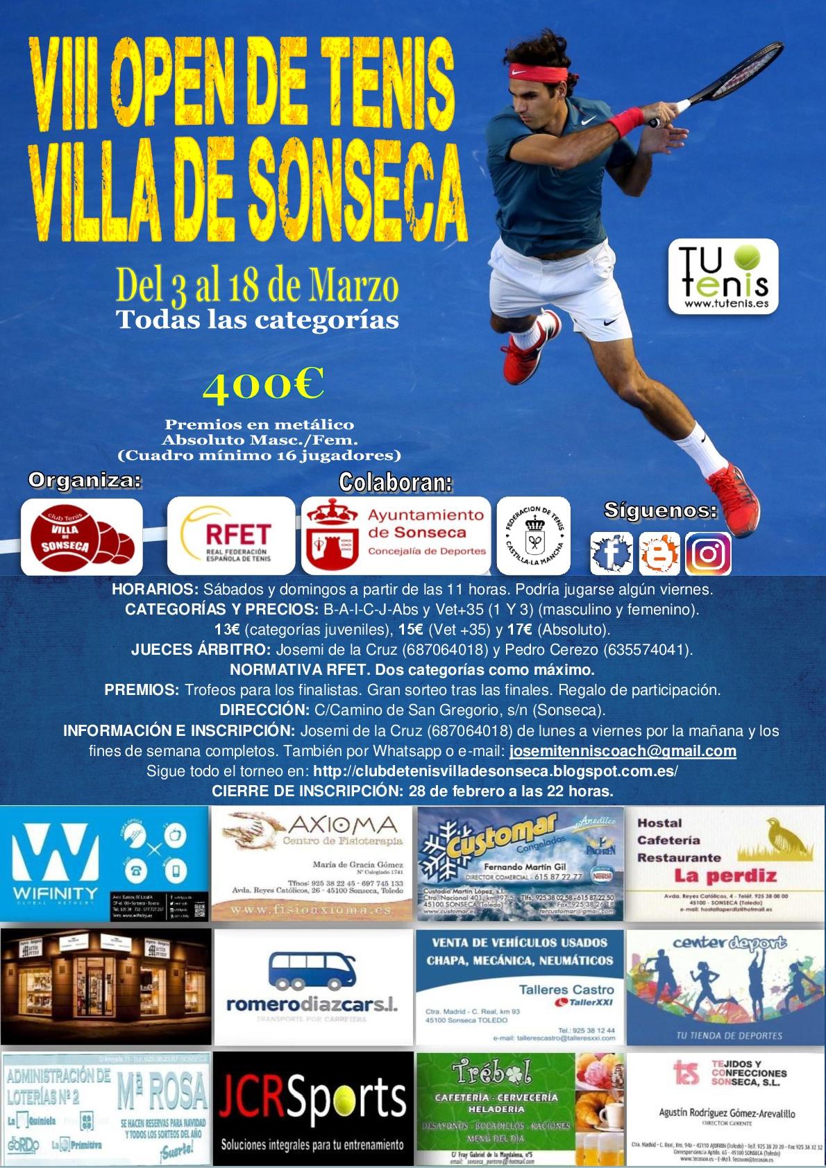 Cartel VIII Open Villa de Sonseca 2018