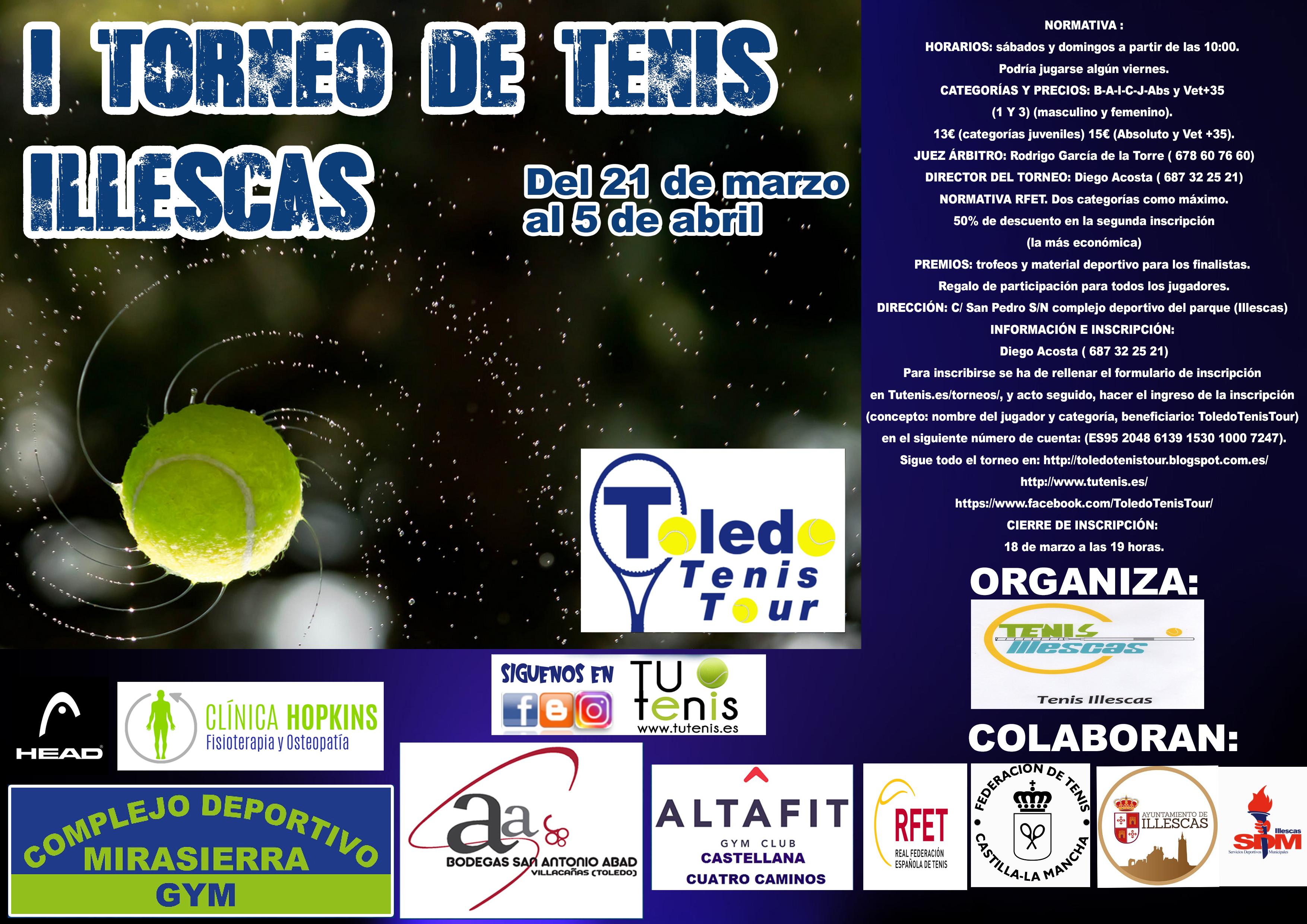 cartel I torneo tenis Villa de Illescas TTT 2020