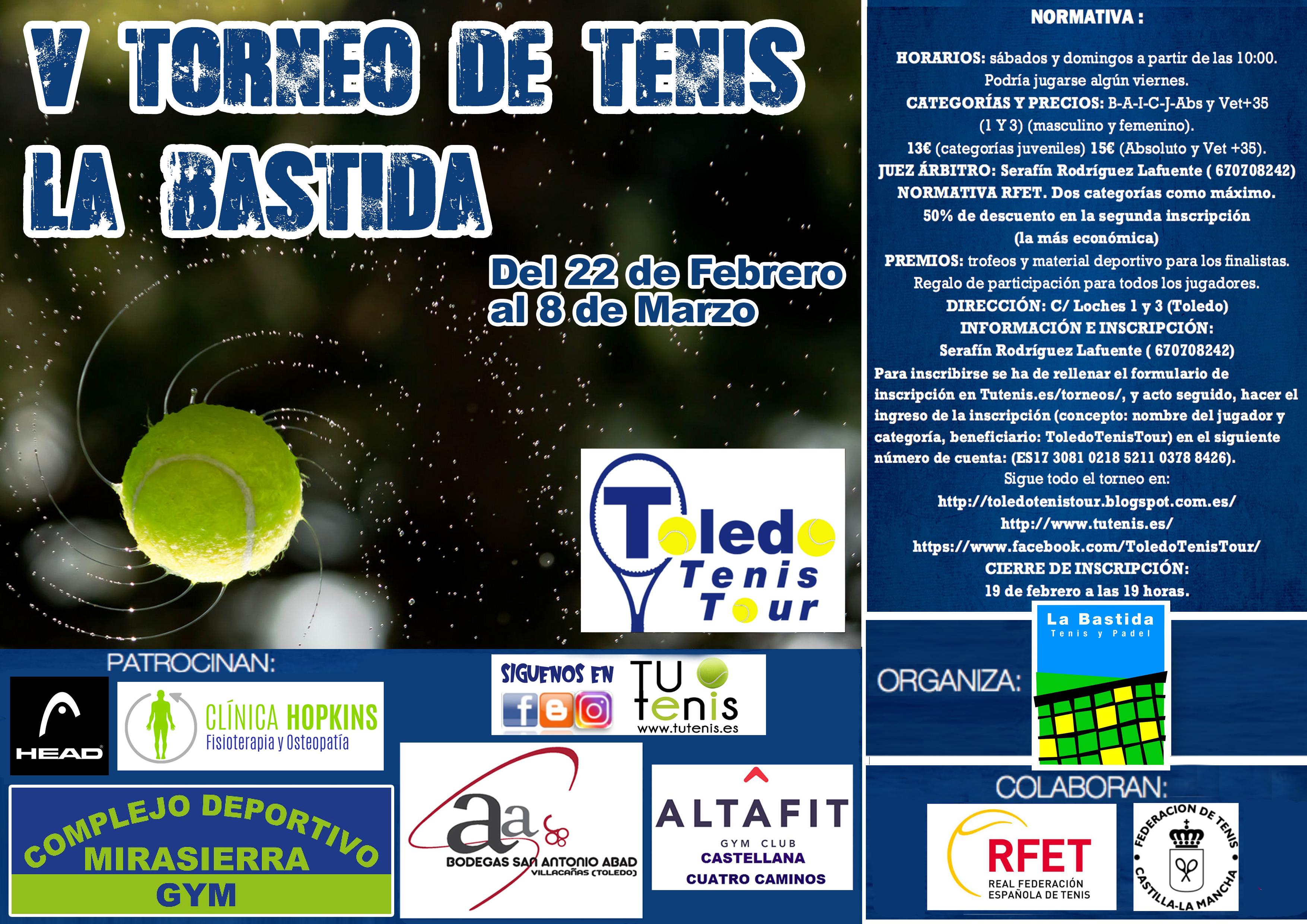 cartel torneo tenis BASTIDA 2020