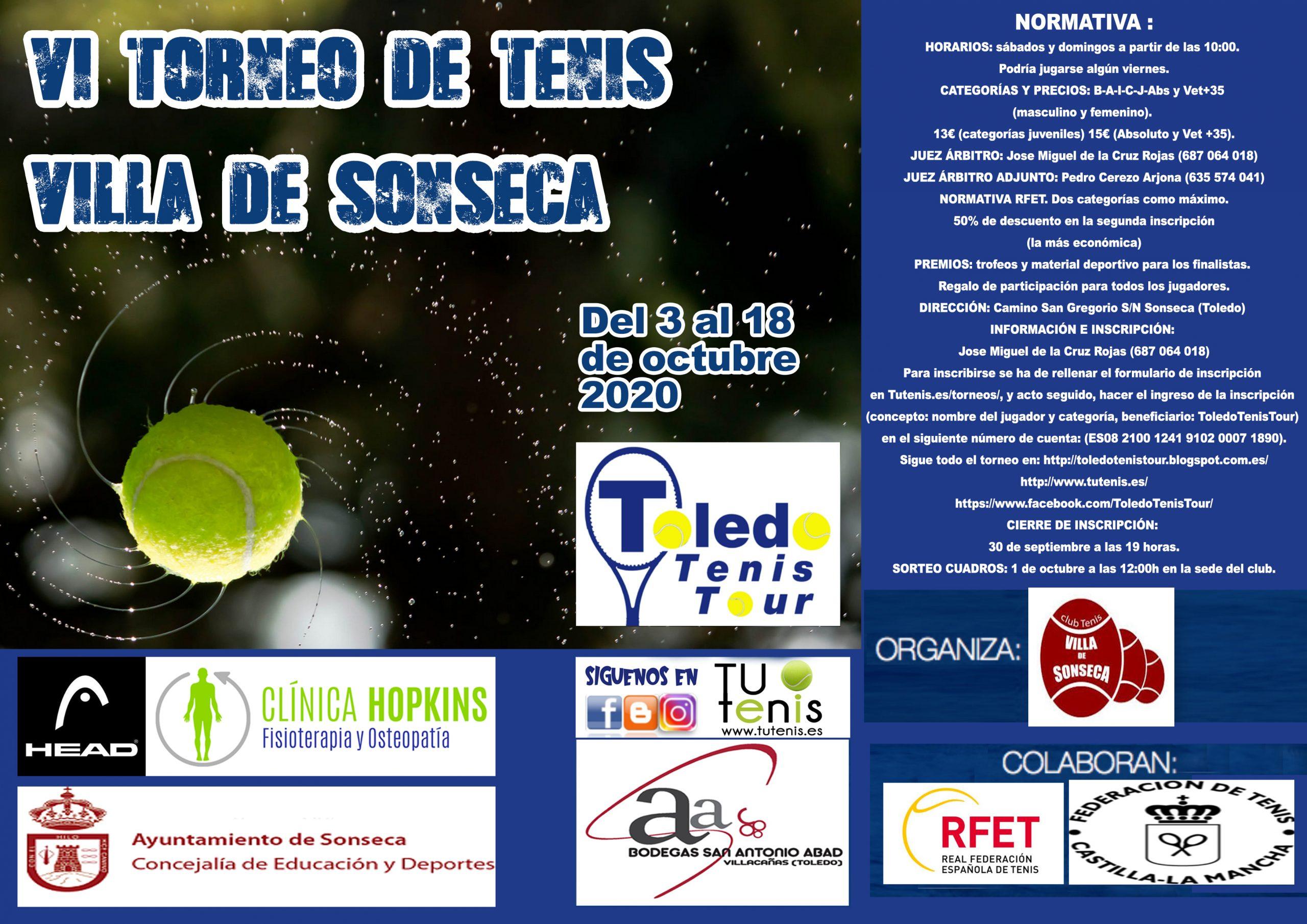 [CANCELADO POR PREVENCIÓN SANITARIA] VI Torneo de tenis Villa de Sonseca Toledo Tenis Tour